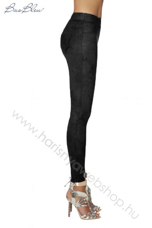 e059b4824e 300 den Bas Bleu, LYDIA velúrbőrhatású női leggings nadrág 7/8-os, 5-ös  méretben is Necc bokaharisnya